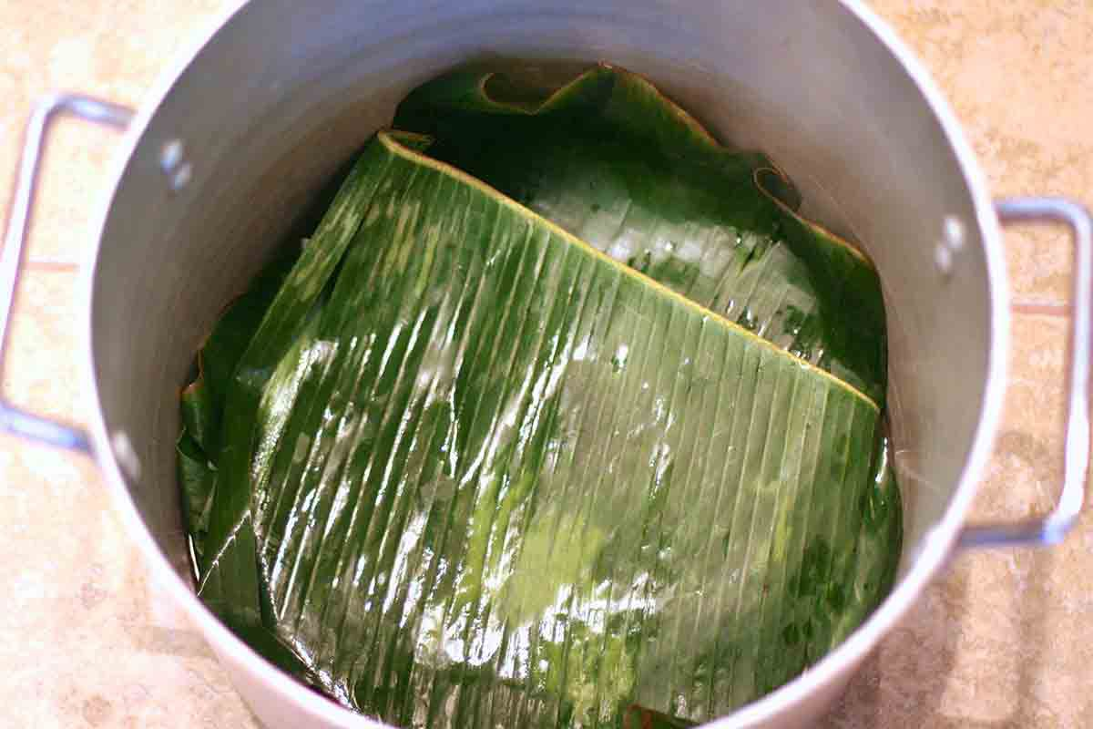 cover banana leaf tamales with more banana leaves