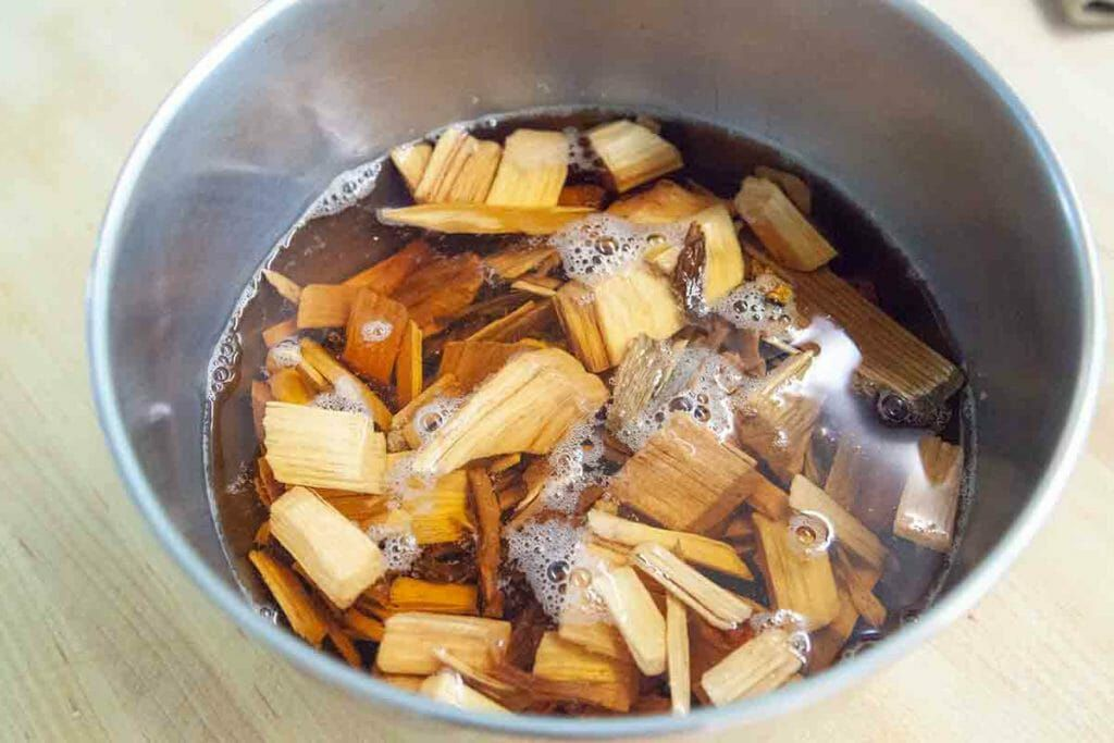 wood chips soaking in water