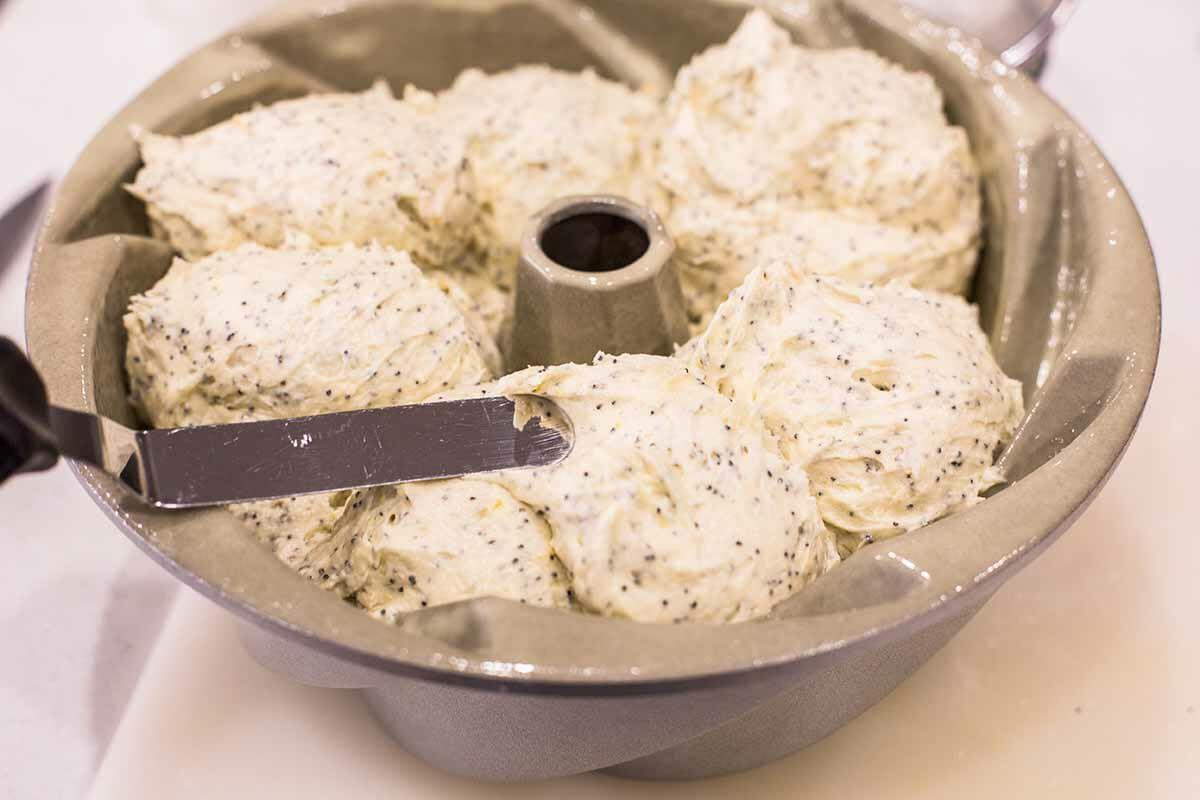 Simple Lemon Poppy Seed Cake transfer dough to cake pan