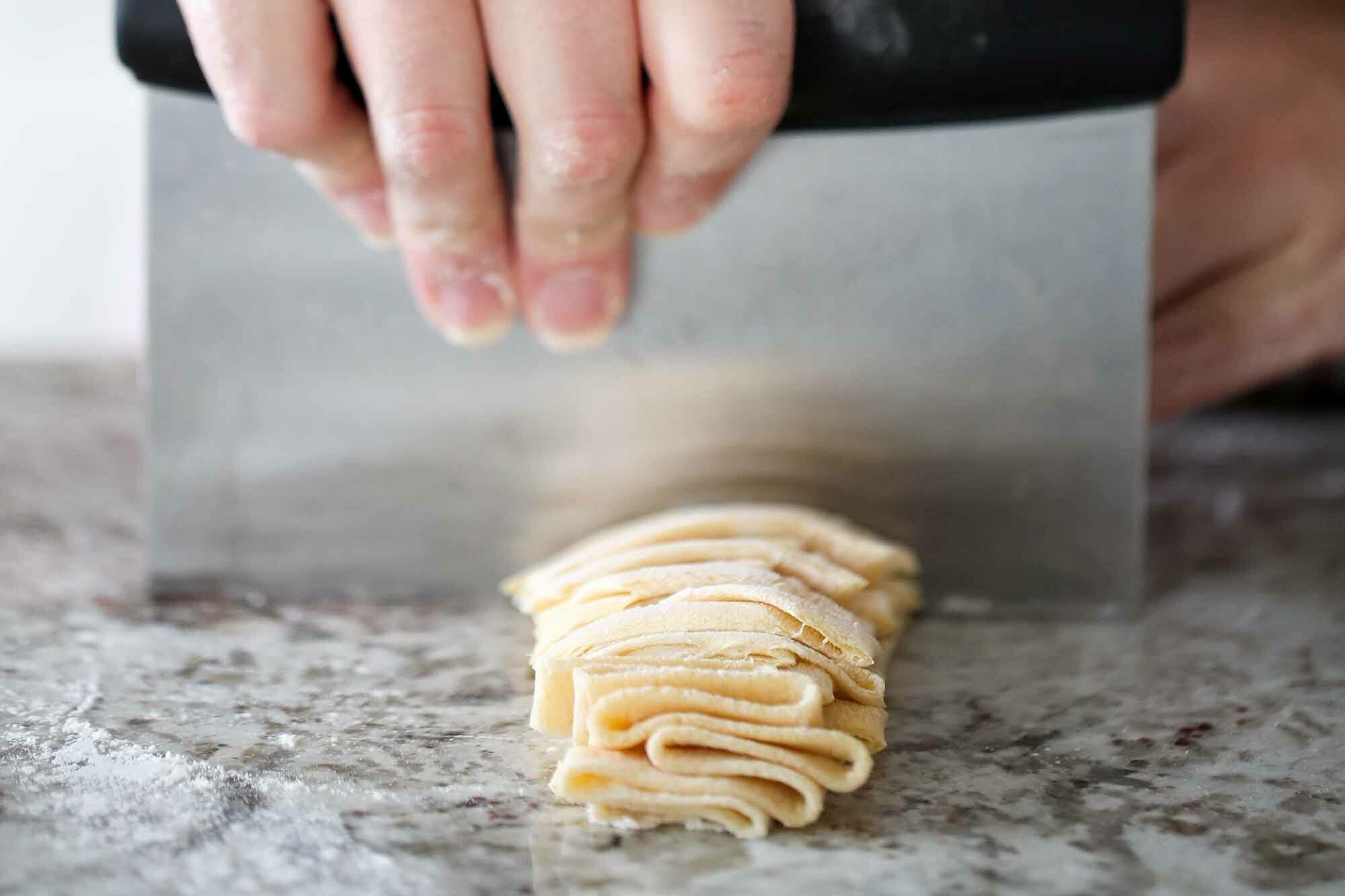 How to Make Homemade Pasta cut into noodles