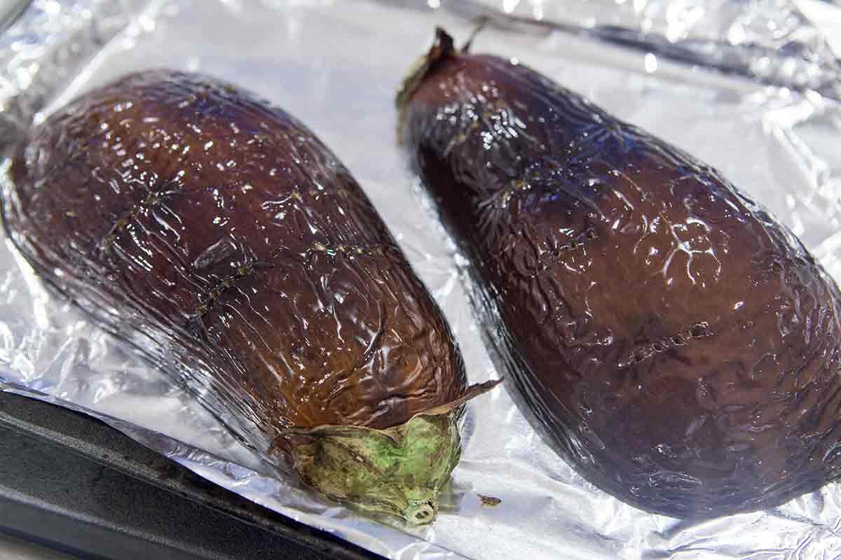 roast eggplant halves for baba ganoush