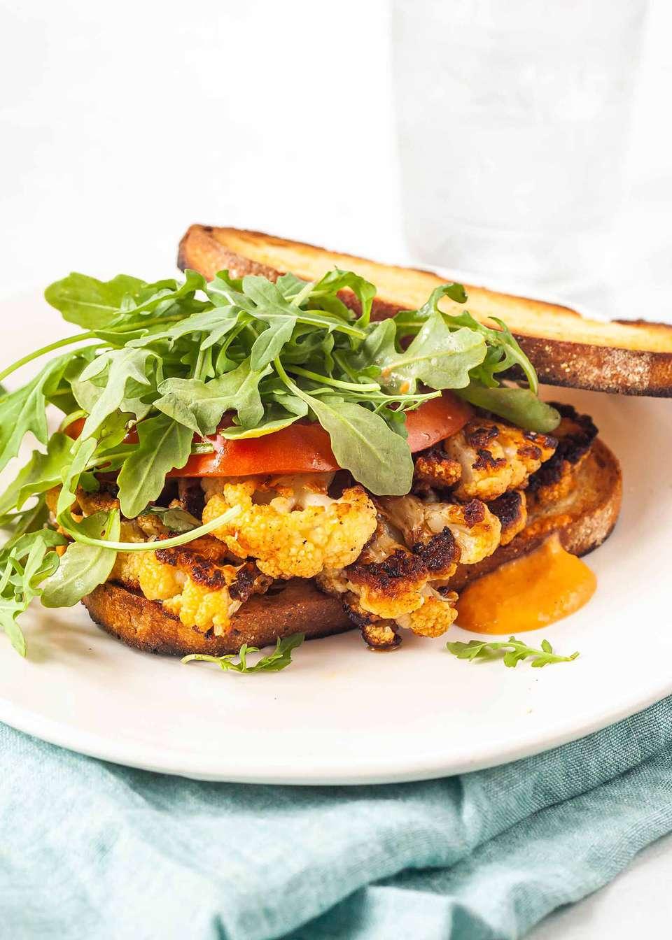 Best Cauliflower Steak Sandwich arugula