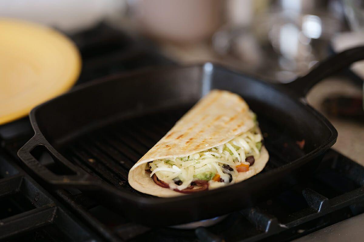 Avocado and black bean quesadilla recipe fold over the tortilla and cook the quesadilla