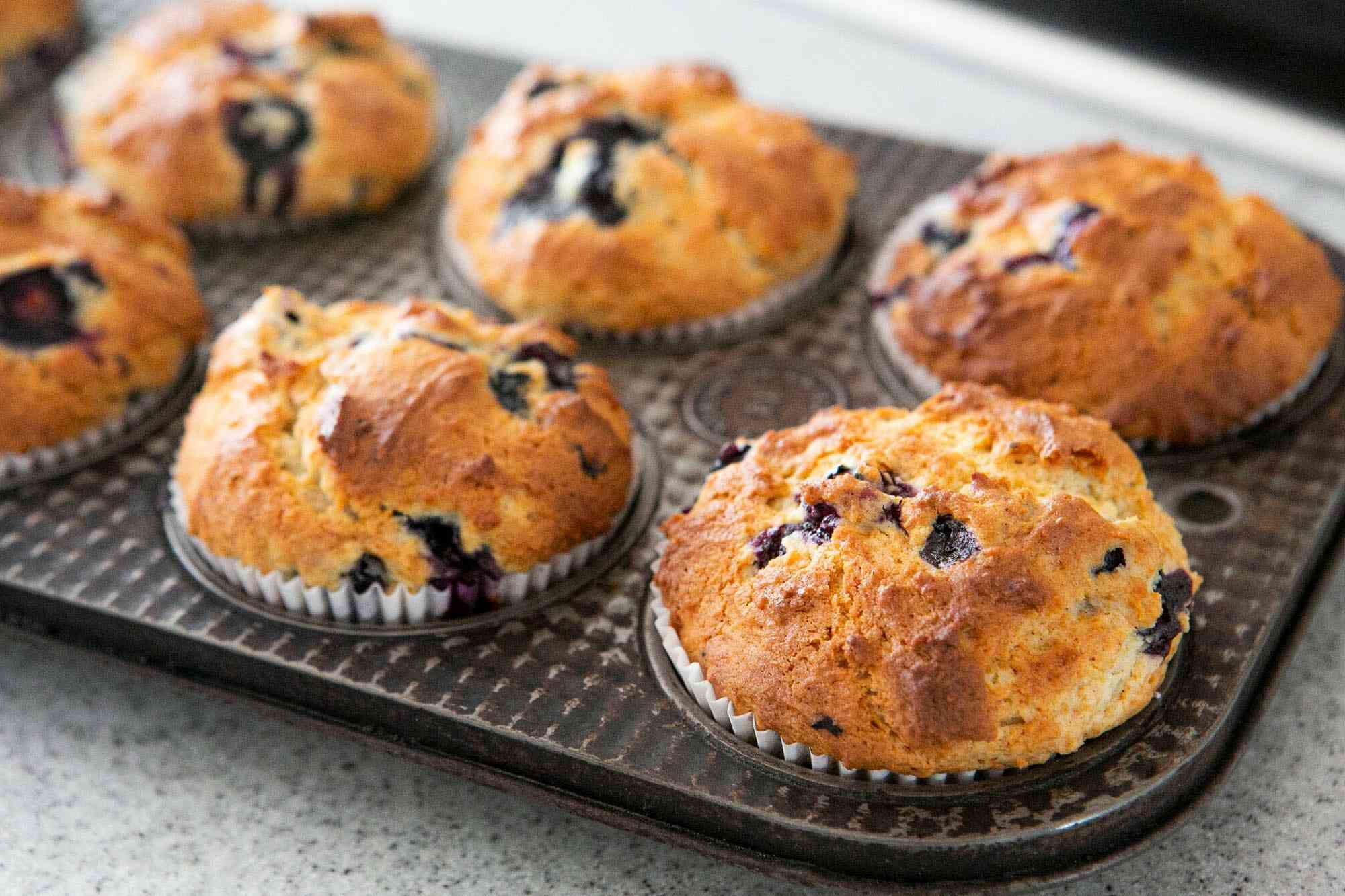 Baked blueberry muffins in the muffin tin after baking