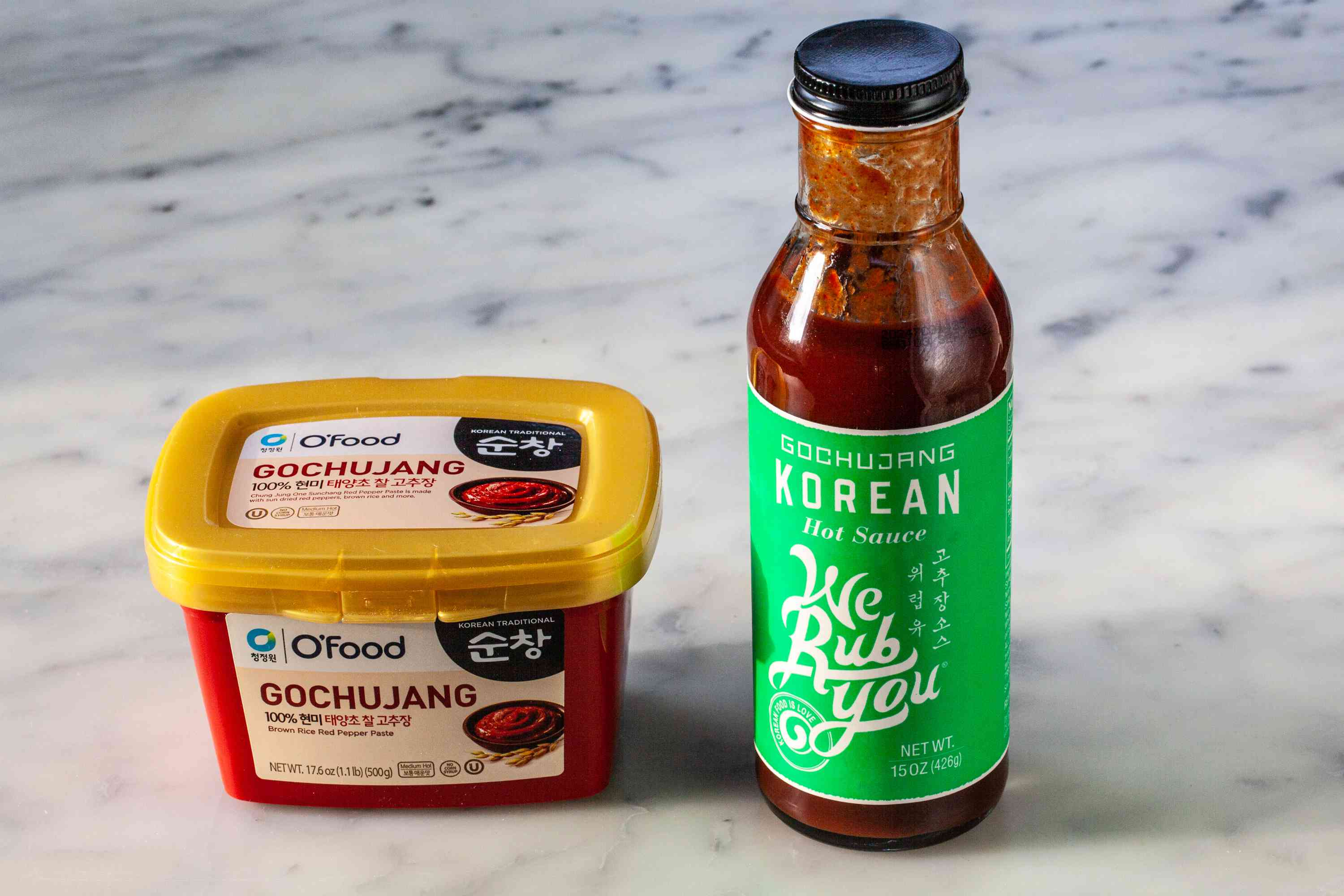 Products to make the sauce for Quick and Easy Gochujang-Glazed Green Beans.