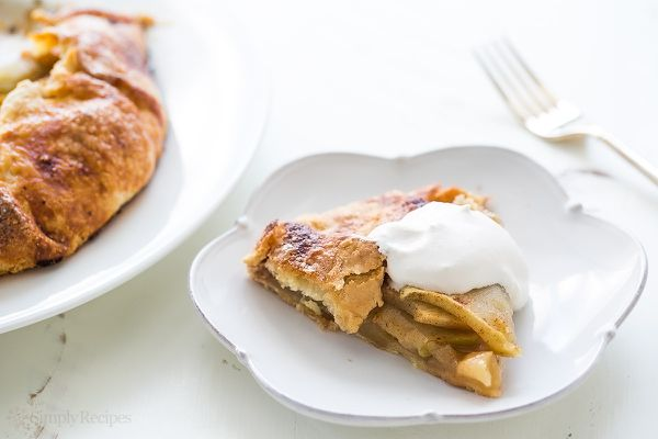 Apple Crostata served with whipped cream