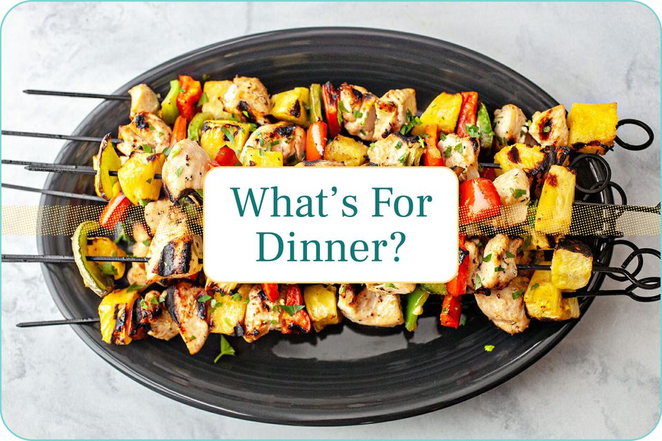 """""""What's for Dinner"""" with a platter of chicken kabobs pictured behind the caption."""