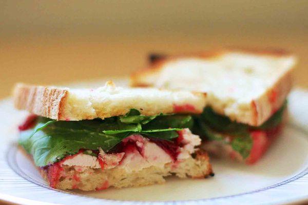 turkey cranberry arugula sandwich