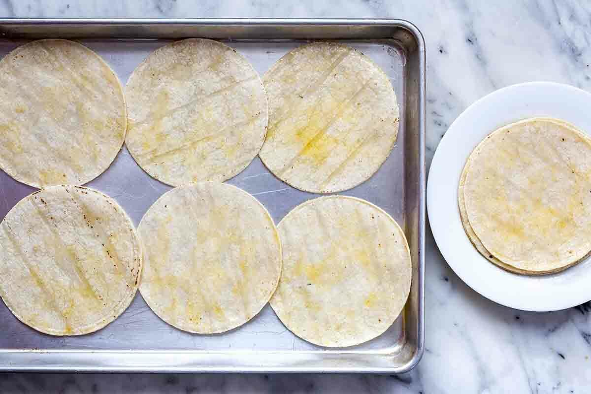 How to Make Stacked Enchiladas brush the tortillas with oil