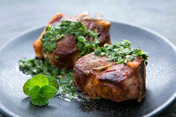 lamb chops with mint chimichurri