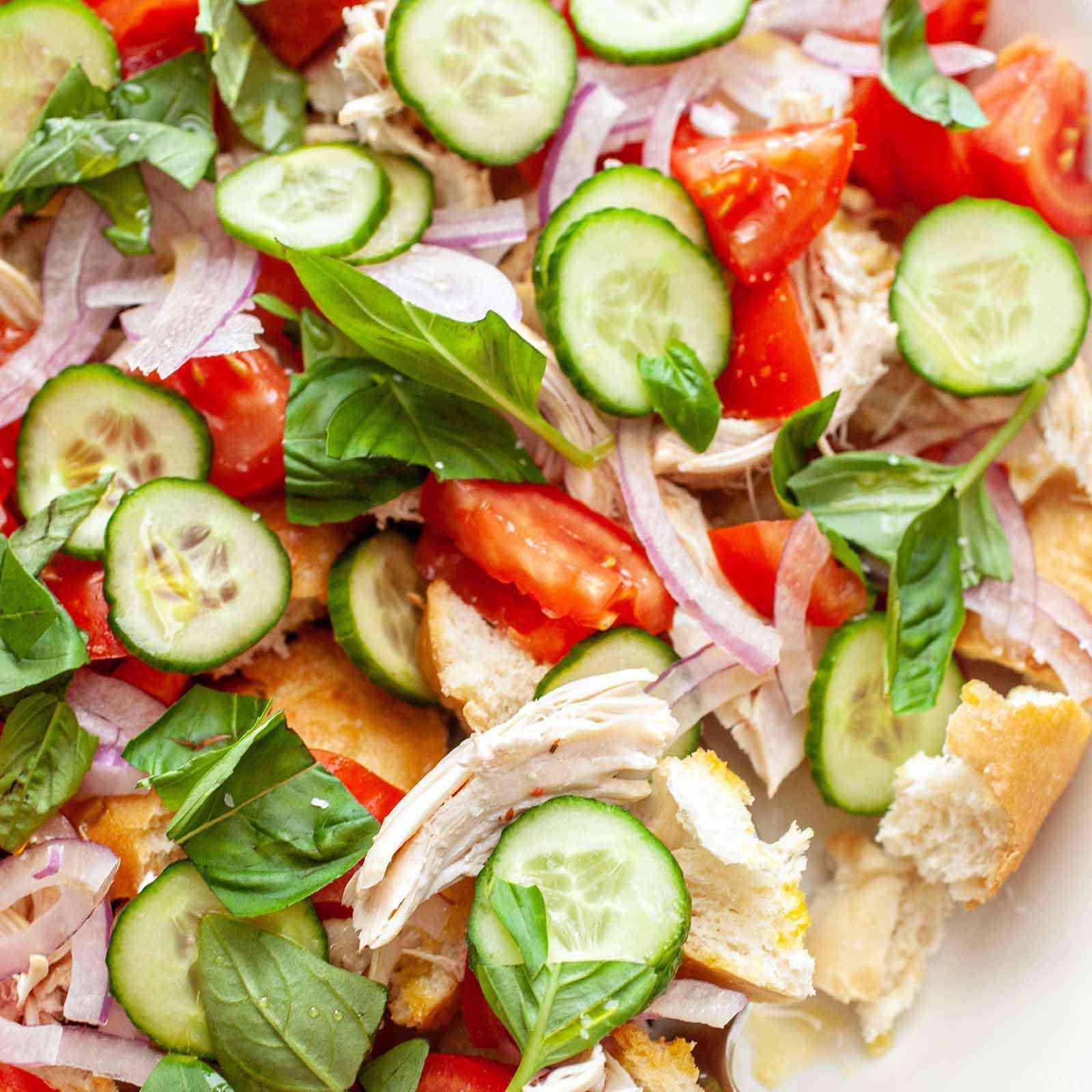 Chicken Panzanella Salad Recipe - chicken panzanella with cucumbers tomatoes