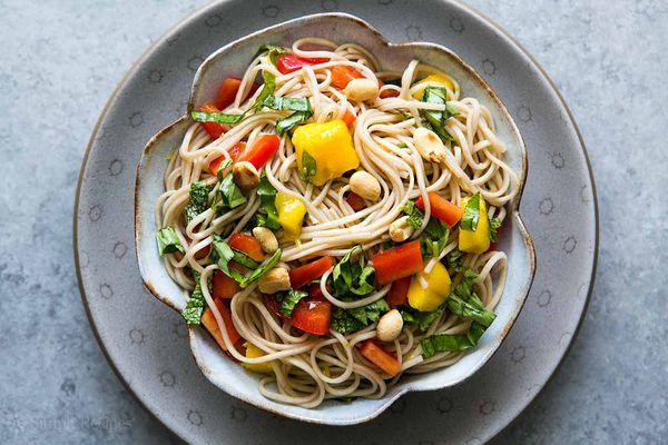 Soba Noodle Salad in bowl