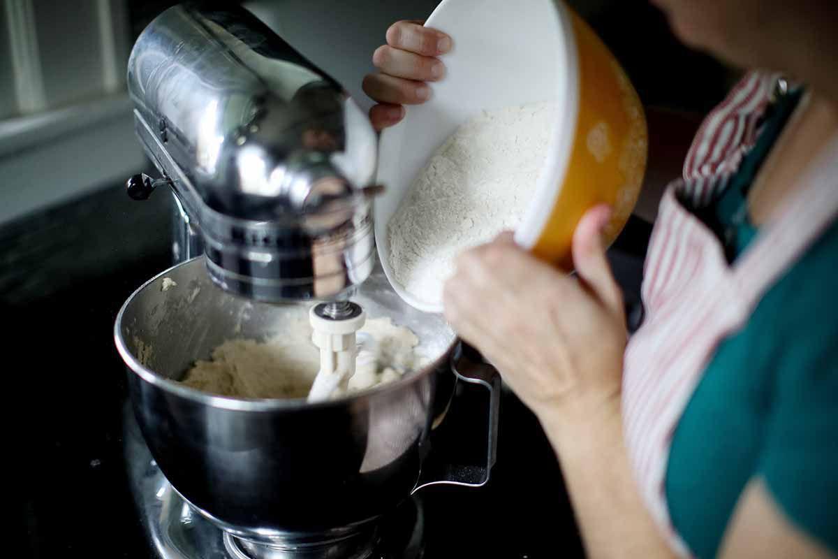 Snickerdoodle Bars Recipe add the flour