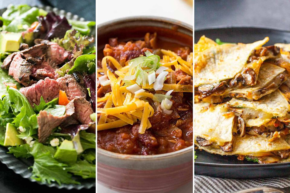 Three photos: Steak salad, chili and quesadillas