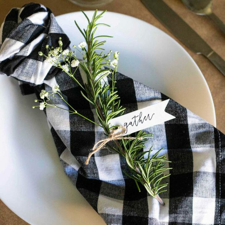rosemary name place cards on checkered cloth napkins