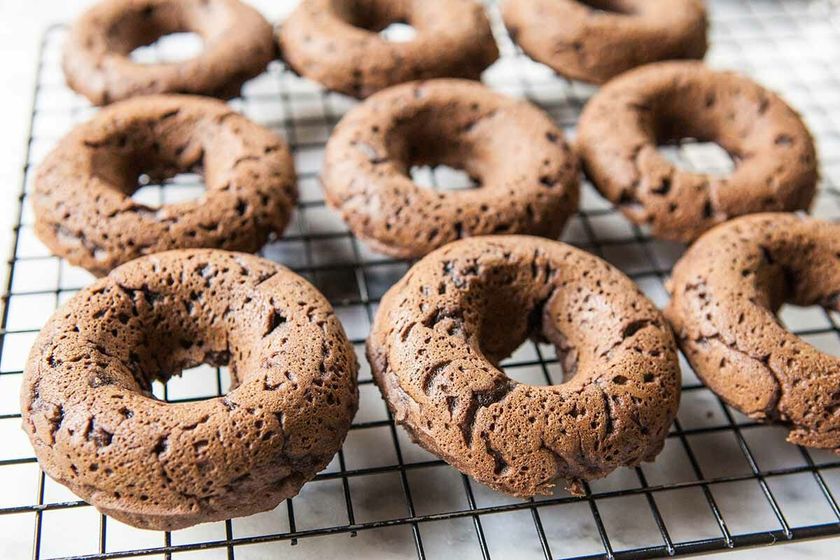 Vegan Gluten-Free Chocolate Donut Recipe remove from pan and cool