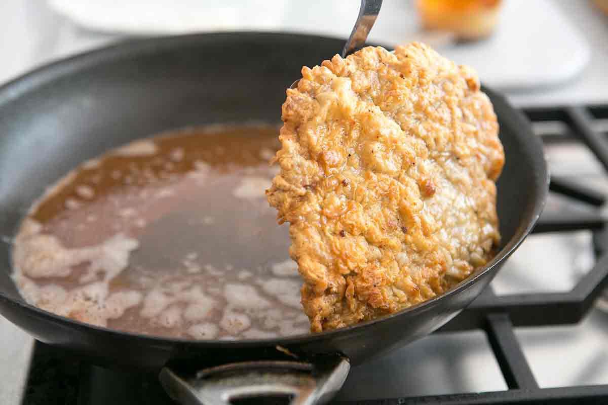 Taking Chicken Fried Steak Out of Oil