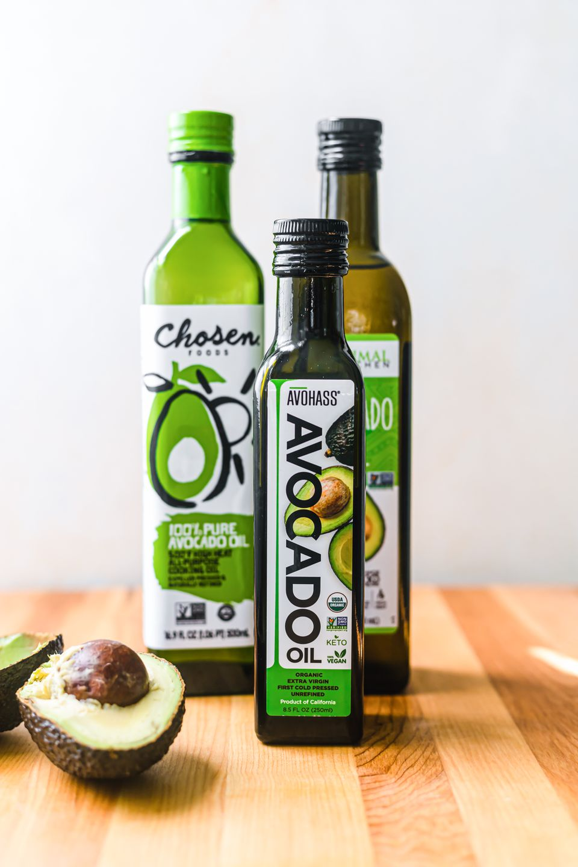 Three bottles of avocado oil