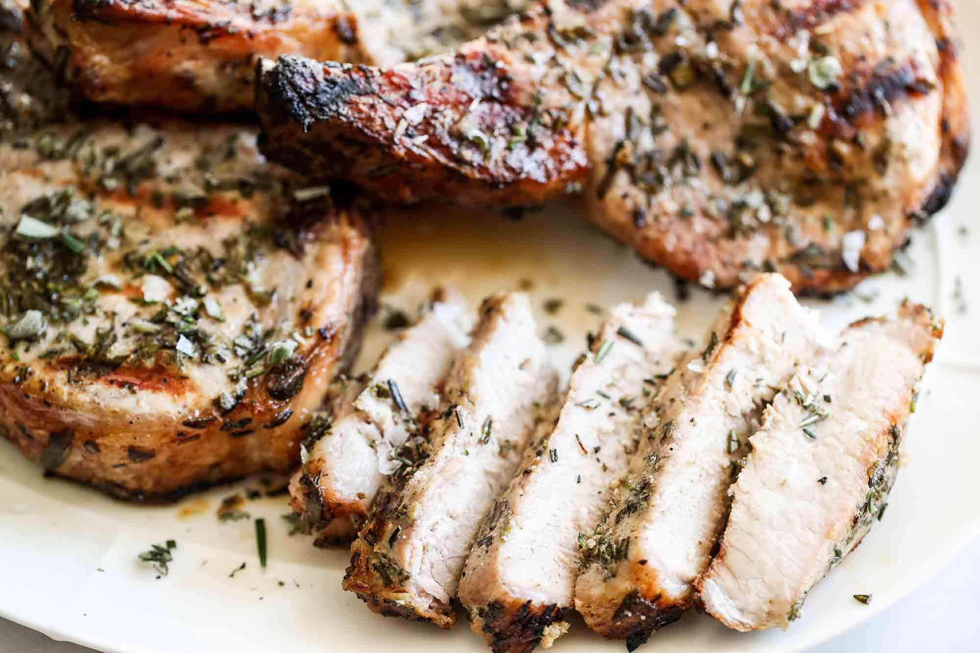 Sous Vide Grilled Pork Chops serve the pork chops