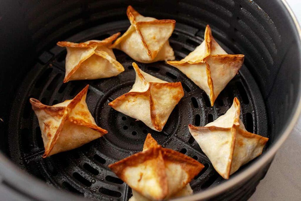 Crispy homemade cream cheese wontons after frying in the air fryer