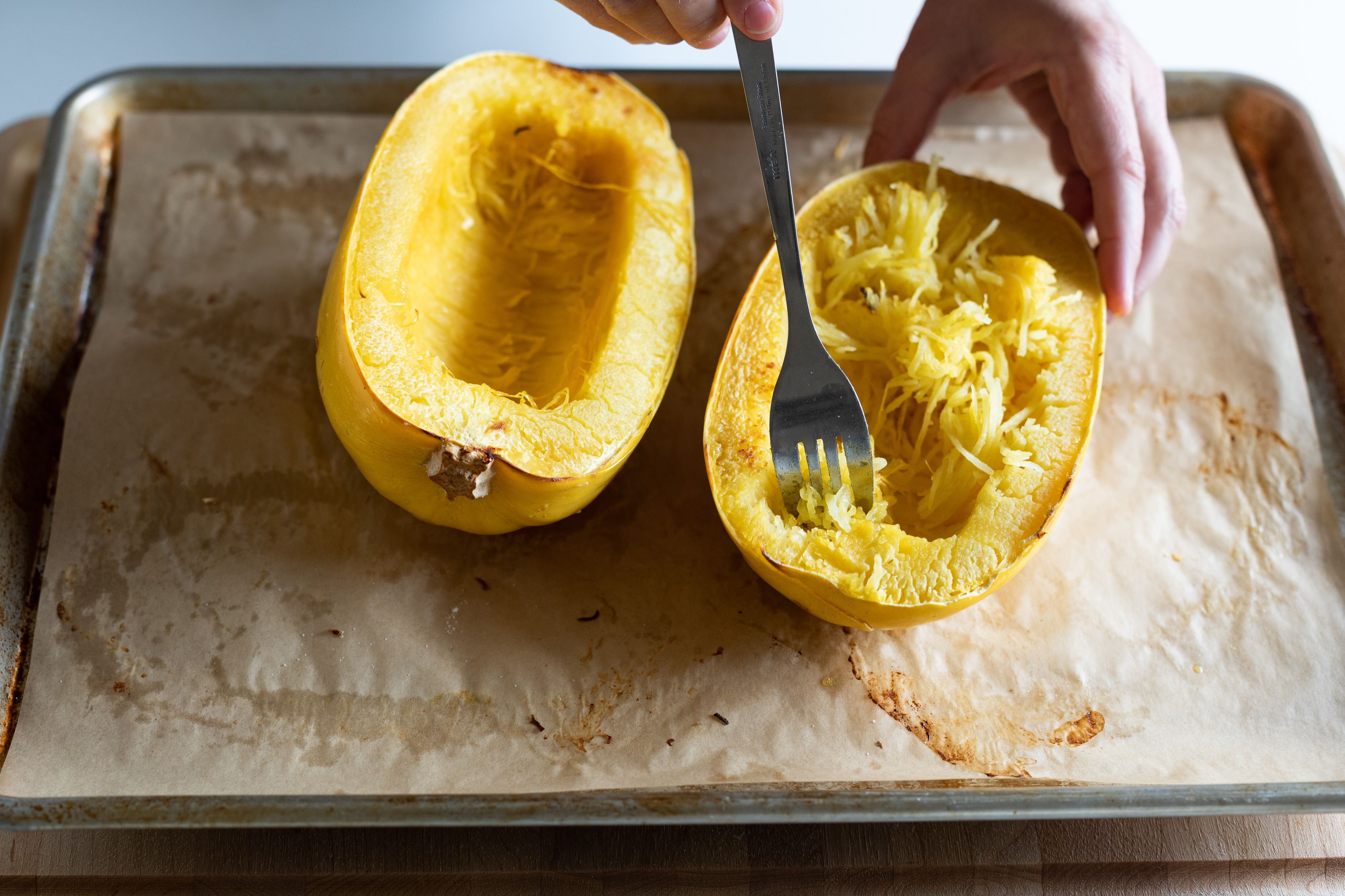 Scoop out the spaghetti squash flesh away from the skin