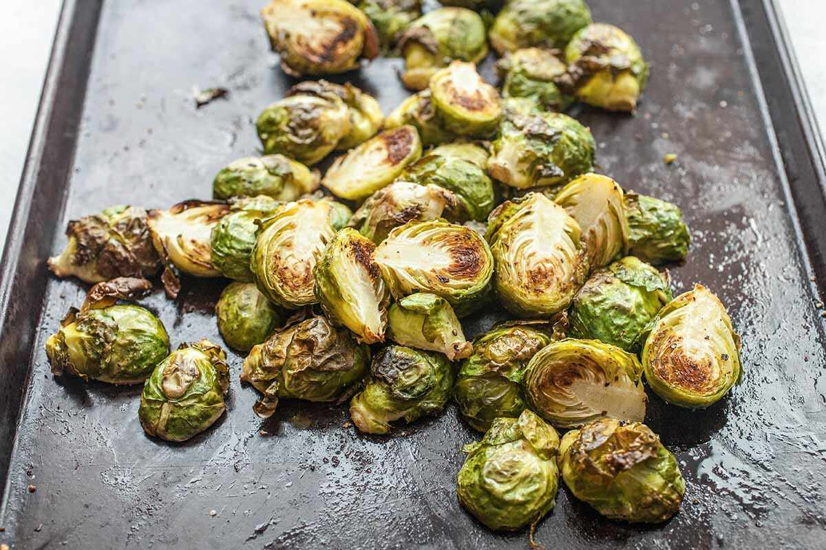 Roasted Brussels Sprouts with Honey take the sprouts out