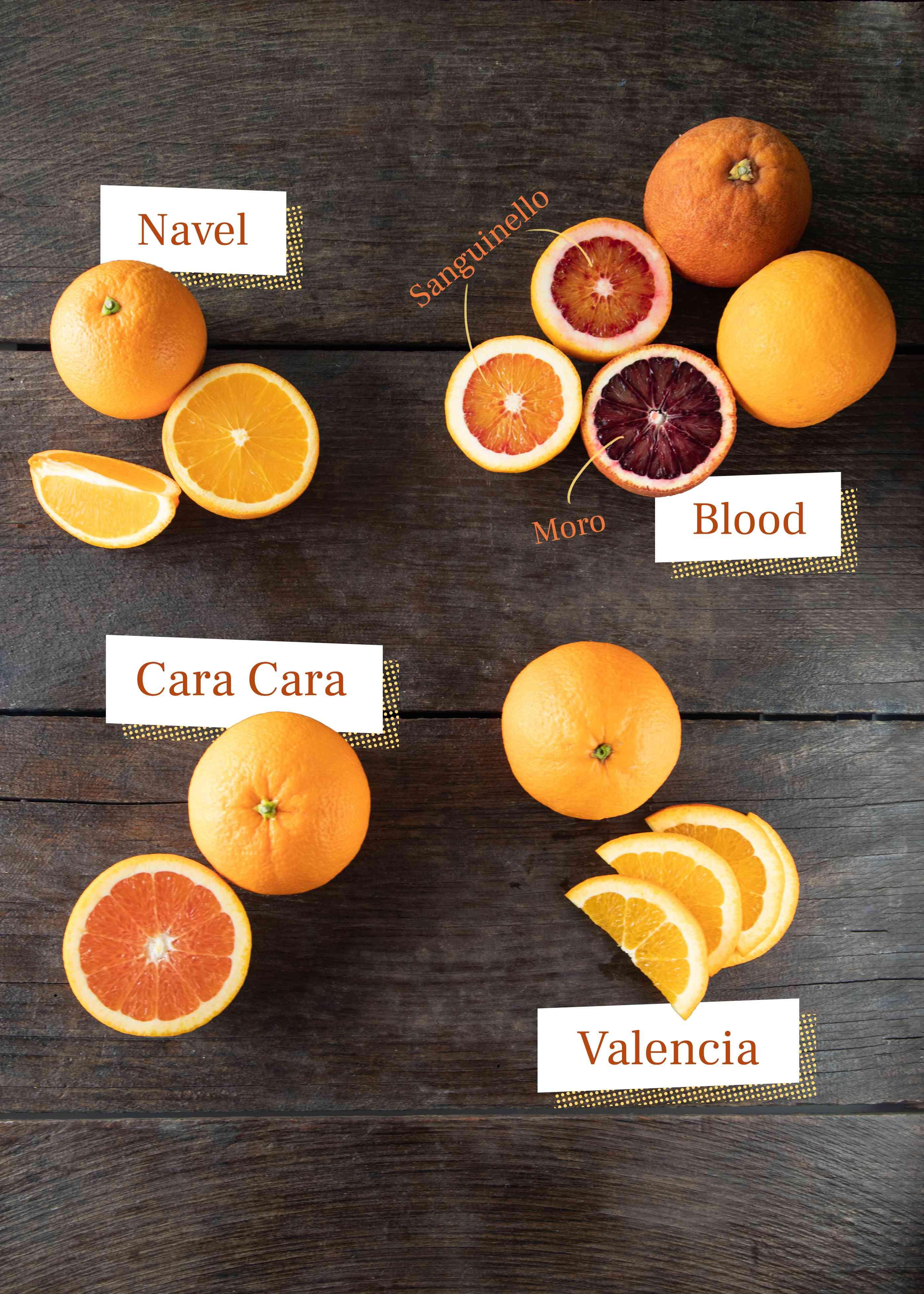 Navel, blood, Cara Cara, and Valencia oranges on dark background