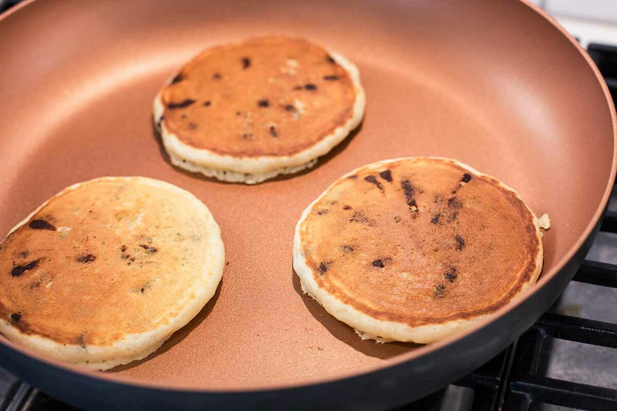 Chocolate Chip Pancakes from Scratch cook the pancakes