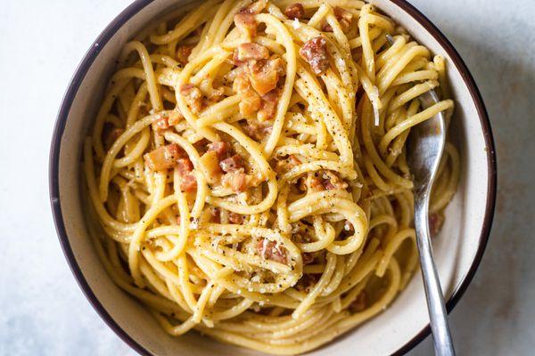 Overhead view of a bowl of Spaghetti Carbonara.