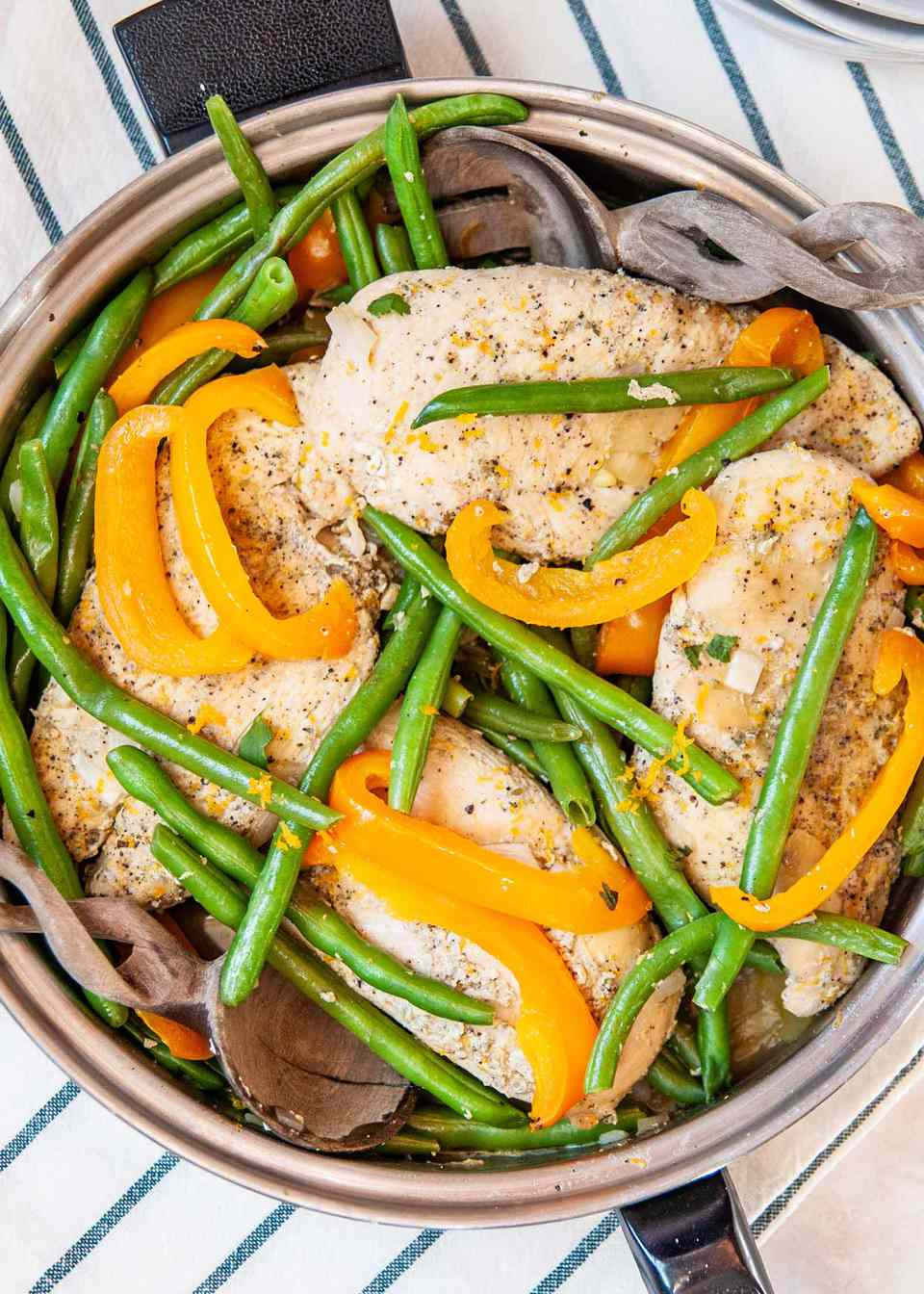Chinese Skillet Chicken Recipe-closeup of chicken, green beans and orange bell peppers
