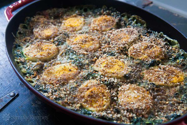 Spinach Gratin Hard Boiled Eggs