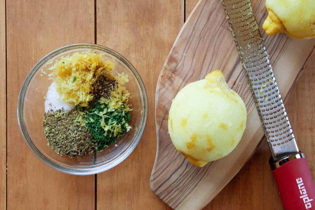 Lemon zest chicken rub for Feta-Brined Roast Chicken Recipe
