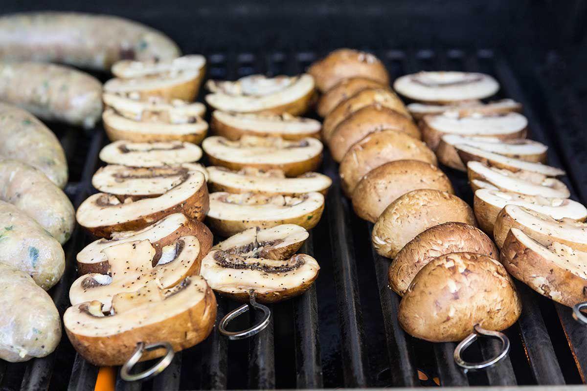 Grilled Sausage and Mushroom Grain Bowls