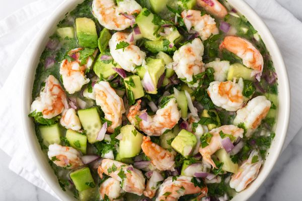Overhead view of a bowl of a shrimp ceviche recipe.