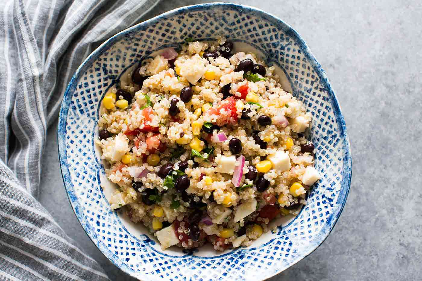 Mexican Quinoa Salad with Black Beans, Corn & Tomatoes