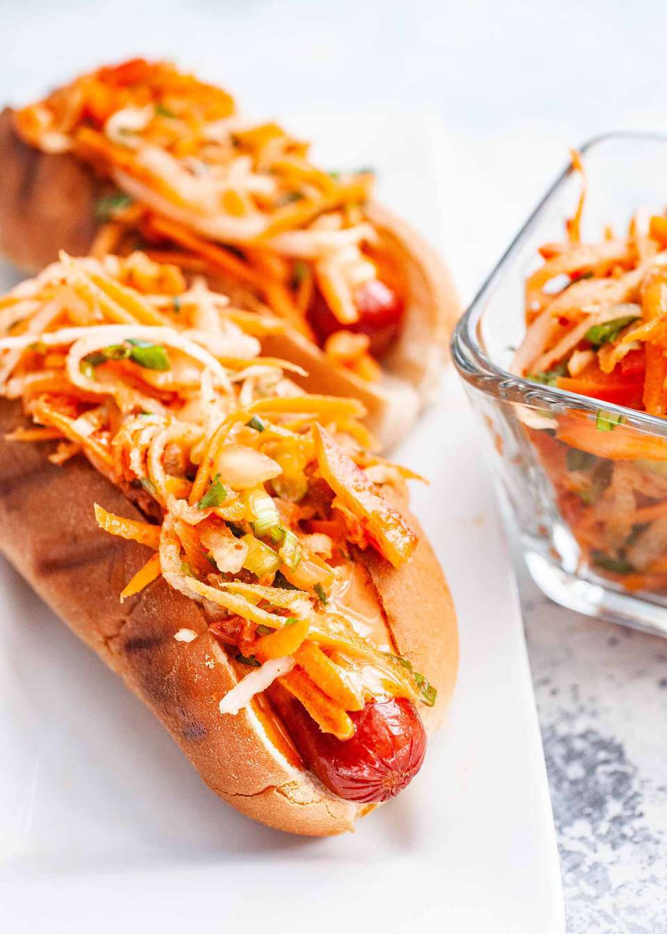Grilled Hot Dog Recipe with Kimchi Slaw