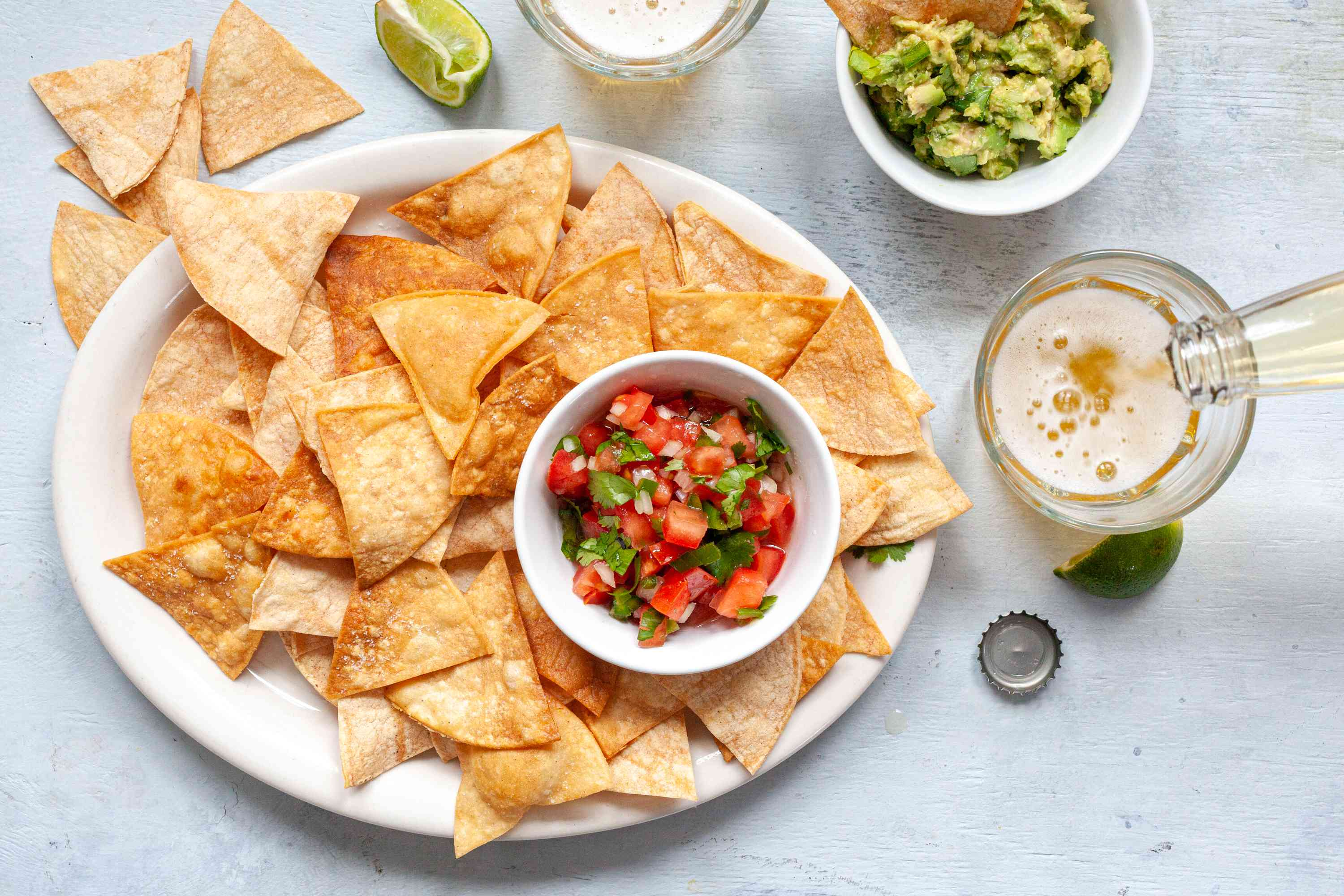 A plate of mexican chips.