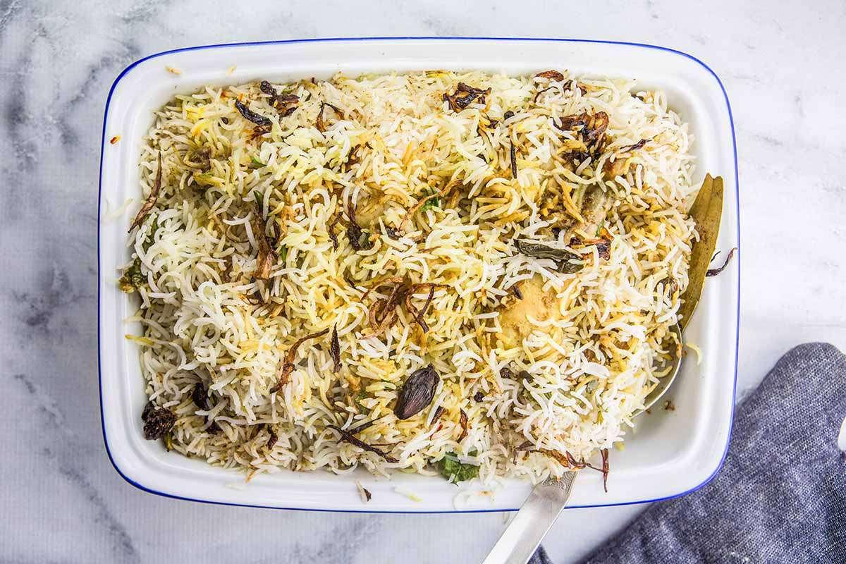 Indian Biryani with Chicken rest the biryani