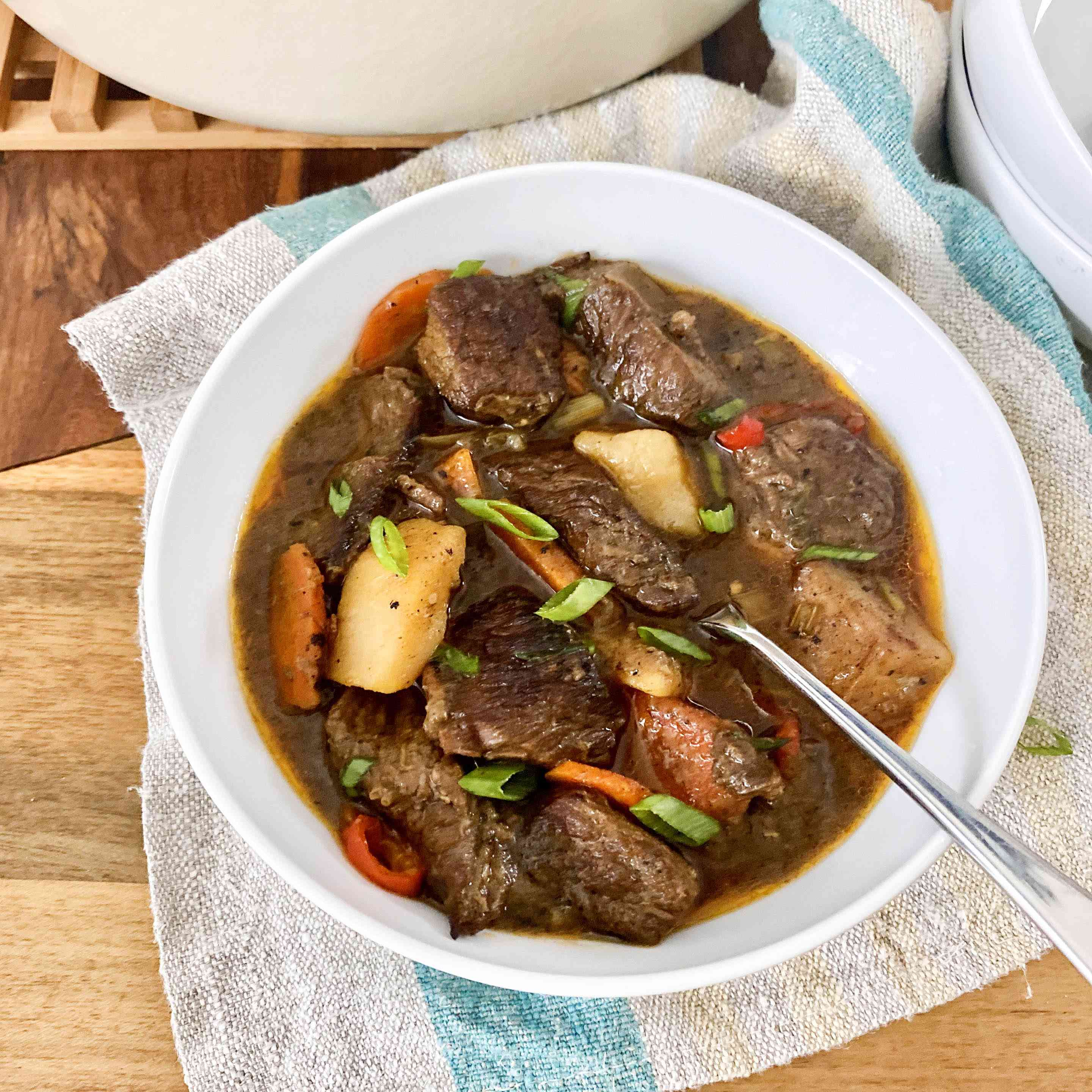 One bowl of Jamaican Beef Stew.