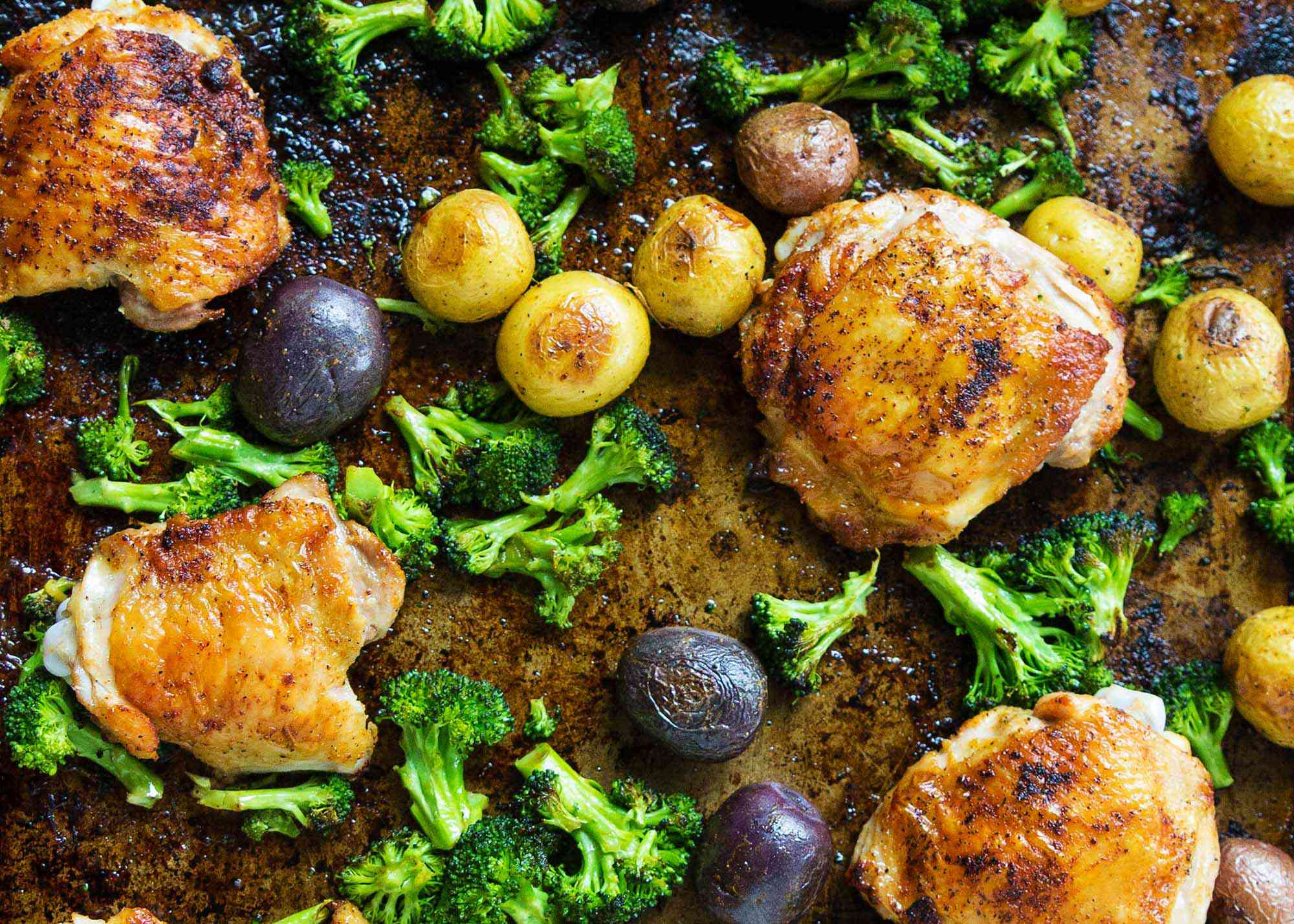 Sheet Pan Chicken with Roasted Broccoli and Potatoes