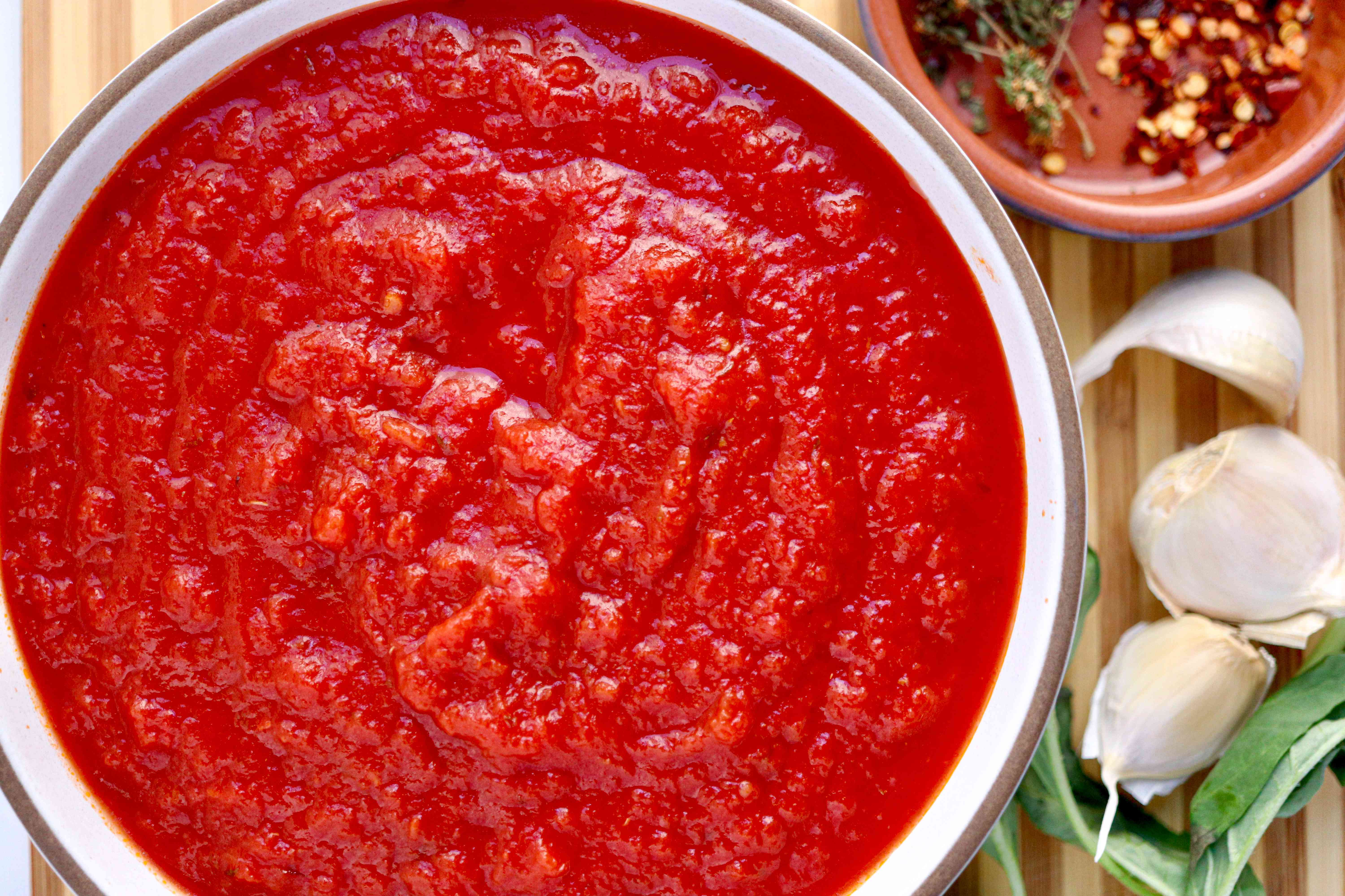 A bowl of Red Pizza Sauce.