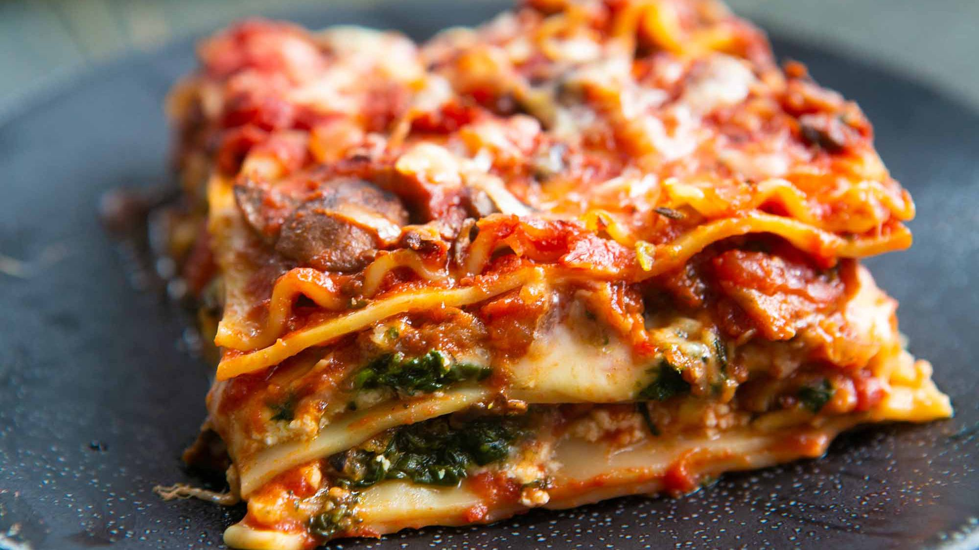 Vegetarian Spinach and Mushroom Lasagna