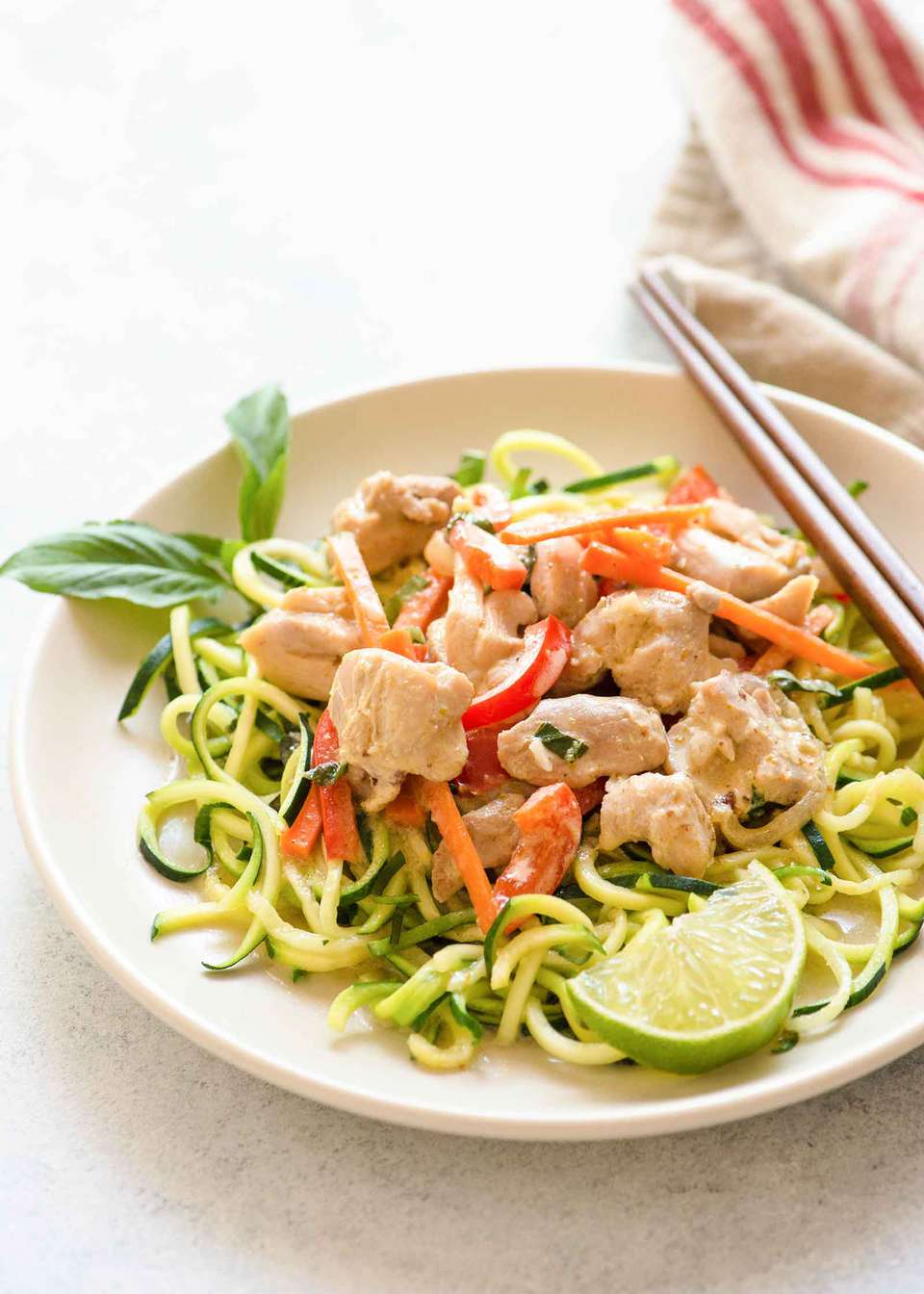 Quick Green Curry Chicken with Zucchini Noodles