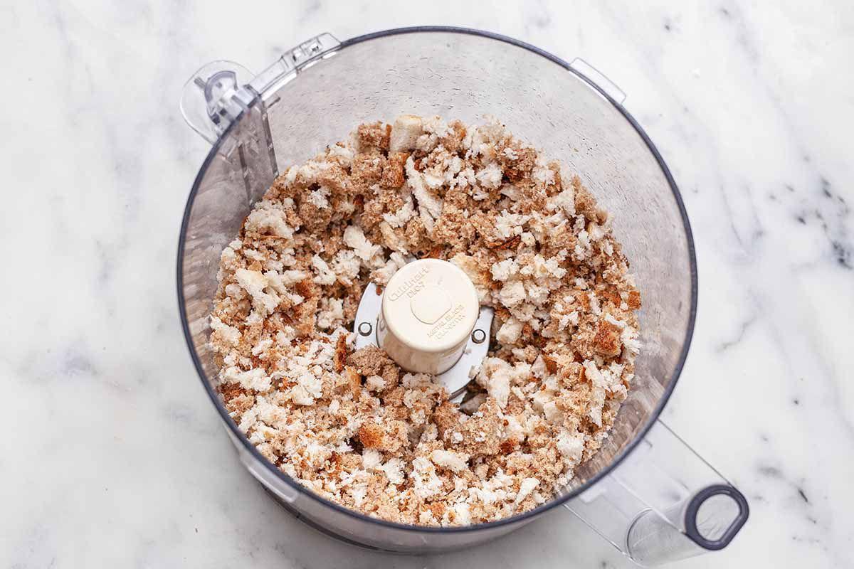Easy Breadcrumb Recipe - coarse breadcrumbs in food processor