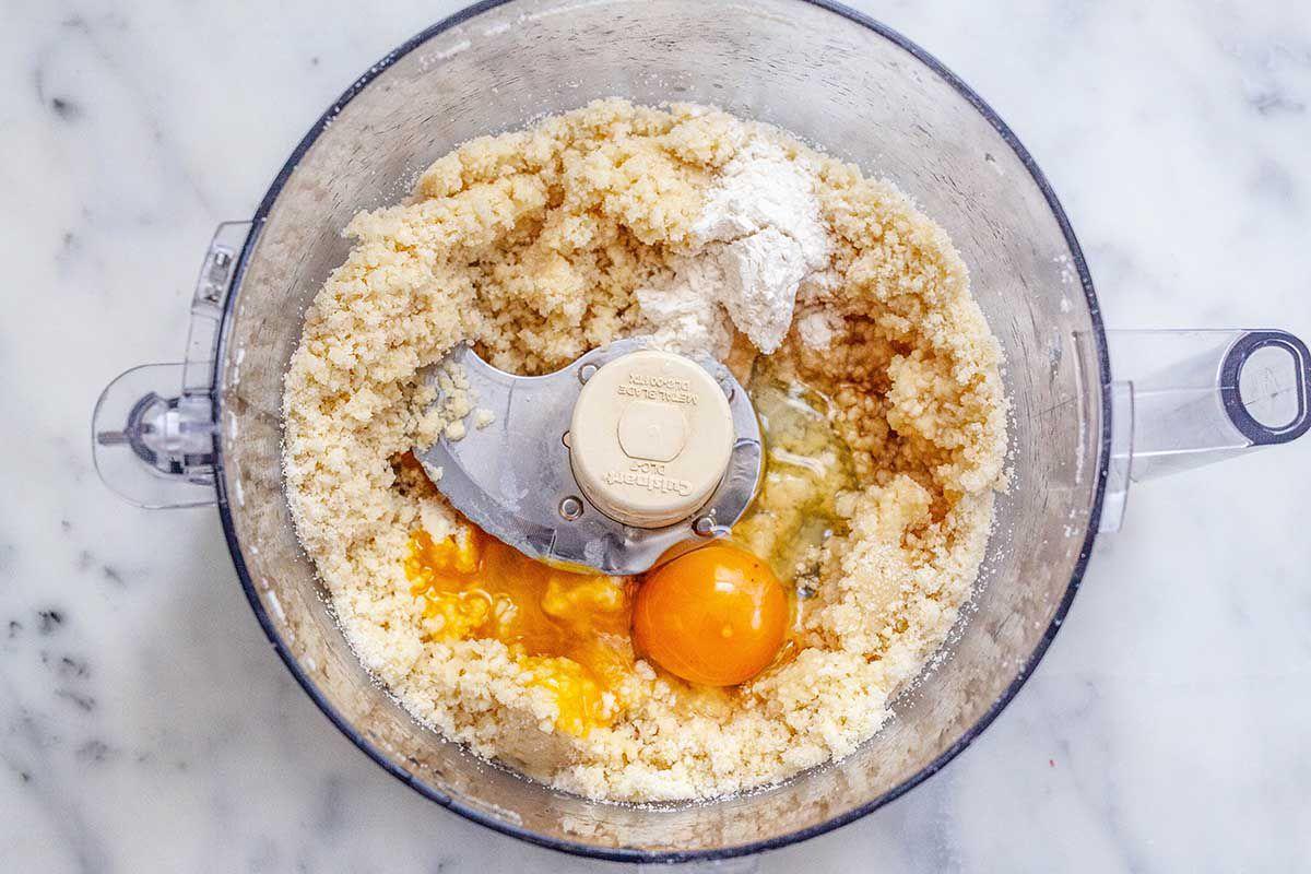 Easy Peach Dessert - almond flour, eggs, sugar in food processor