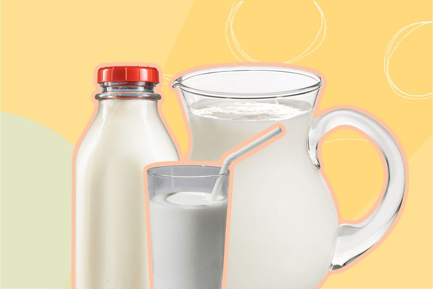 Photo composite of a bottle, glass, and jug of milk.