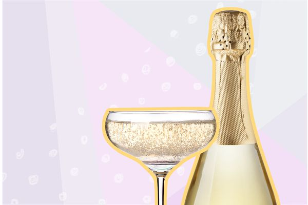 Photo composite of a champagne bottle beside a glass of champagne
