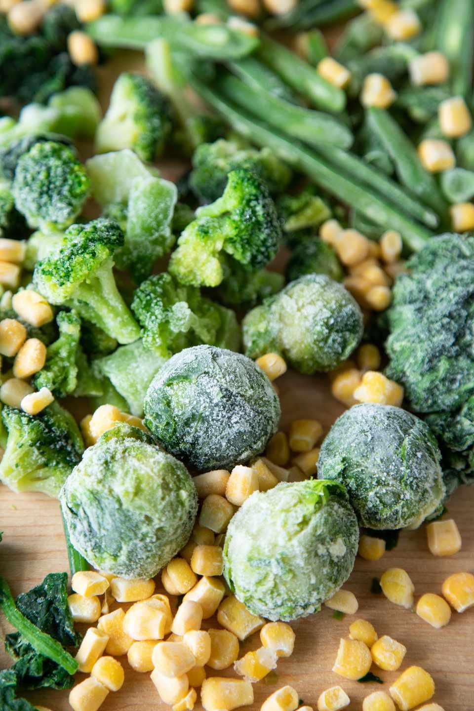 Frozen broccoli corn kale