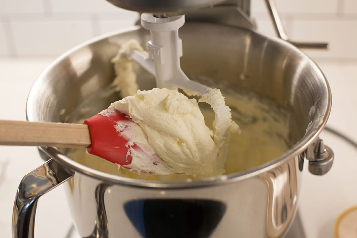 Cheesecake Recipe with Lemon - making cheesecake batter in stand mixer