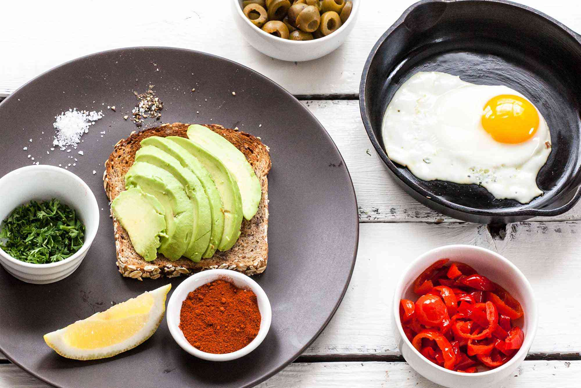 Avocado Toast with Fried Egg, Olives, and Paprika - Prep